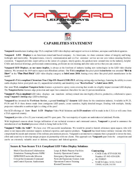 Vanguard - Military Capabilities Statement